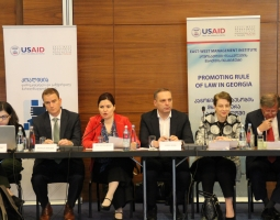 Left to right: Sopo Verdzeuli, Human Rights Education and Monitoring Center,  Nicholas Berliner, Deputy Chief of Mission, the United States Embassy in Georgia,  Ana Natsvlishvili, Georgian Young Lawyers Association, Giorgi Gogia,  Human Rights Watch, Nino