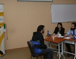 Free University Tbilisi team interviewing a Client