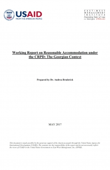 Working Report on Reasonable Accommodation under the CRPD: The Georgian Context