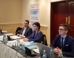 Working group members discussing amendments to the Law on Advocates (from left to right): David Asatiani, Chairman of GBA, Eka Beselia, Chairperson of the Legal Affairs Committee of the Parliament and Levan Mchedeladze, Leading Specialist of the Legal Affa