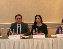 From left to right:  Nino Zhvania, Executive Director, NCCE; Giorgi Chkheidze, Chief of Party, USAID/PROLoG; Natalia Jaliashvili, Head of the Human Rights Secretariat of the Administration of Government of Georgia;  Laura Berger, Acting Director, Democracy