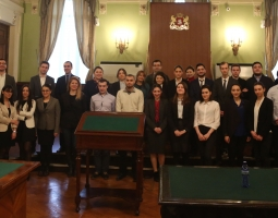 Participating teams and judges at the Commercial Law Moot Court Competition