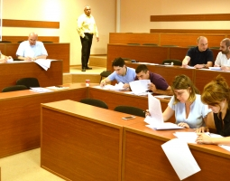 Participants work on legal analysis exercise
